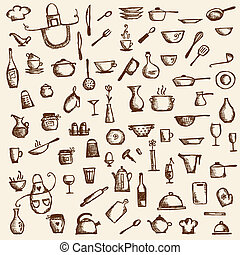 Kitchen utensils, sketch drawing for your design