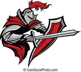 Knight Warrior Mascot Stabbing