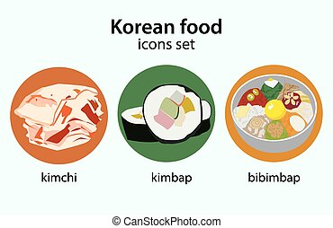 Korean food flat design icons set. Bibimbap kimchi kimbap