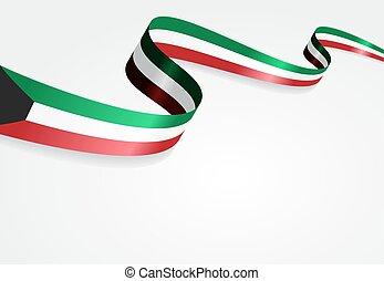 Kuwait flag wavy abstract background. Vector illustration.