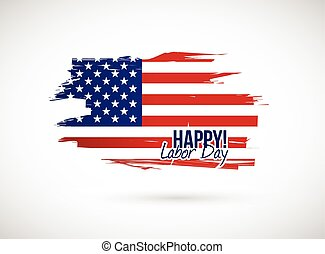labor day holiday flag sign illustration design over a white background
