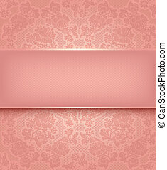 Lace template, ornamental pink flowers background