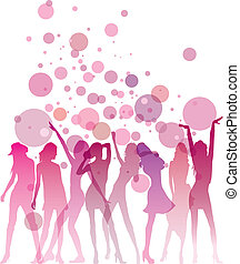Dancing woman silhouettes with bubbles and copy space