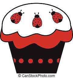 Pretty red and black ladybug cupcake