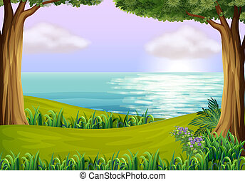 Illustration of the land and water