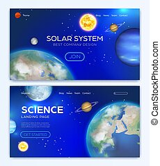 Landing page with solar system background