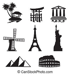 black and white set icons - travel and landmarks