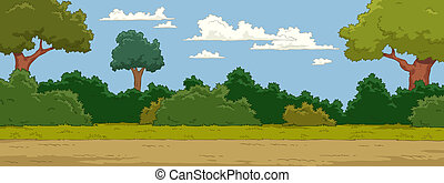 The natural landscape cartoon background vector illustration