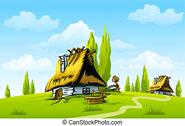 landscape with old house in the village illustration
