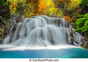Landscspe of Waterfall with morening sunsise and jungle.