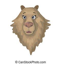 Large wild brown bear head. Vector illustration