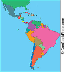 Latin America with Editable Countries