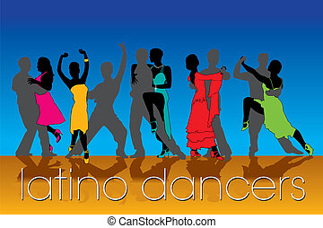 Latino Dancers Silhouettes Set
