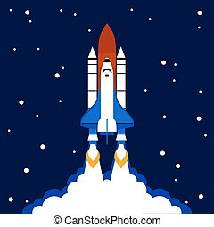 Launch concept space rocket background