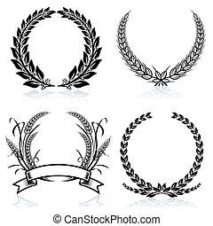 Laurel Wreaths pattern design, vector illustration file.