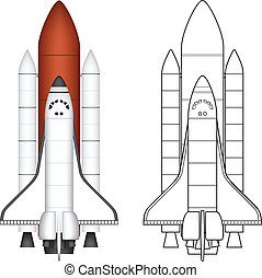 Layered vector illustration of Space Shuttle.