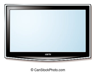 Modern LCD television technology concept with white blank screen