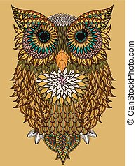 leaves owl coloring page