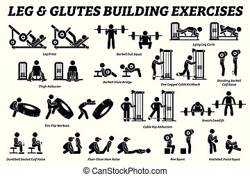 Legs and glutes building exercise and muscle building stick figure pictograms.
