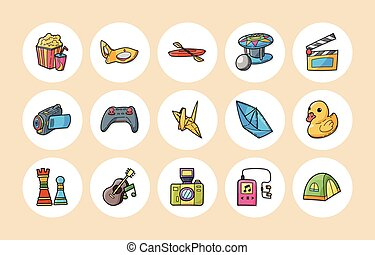 Leisure and hobby icons set, eps10