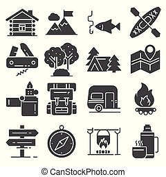 Leisure and outdoor recreation activities icon set