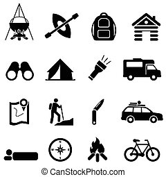 Leisure, camping and recreation icons