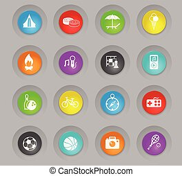 leisure colored plastic round buttons icon set