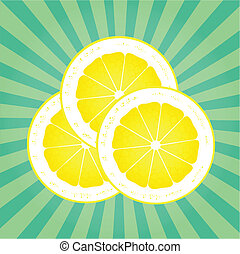 Lemon abstract background vector with burst