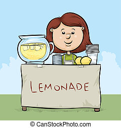 A cartoon girl manages a lemonade stand.
