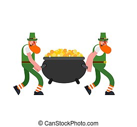 leprechaun and gold. Leprechauns carry pot of golden coins. D. St.Patrick 's Day. Holiday in Ireland.