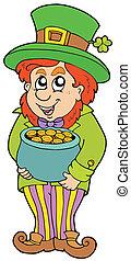 Leprechaun with treasure pot