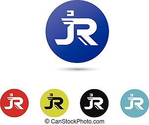 letter JR with circle creative logo concept, innovative IR letter icon concept