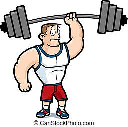 A cartoon strong man lifting a heavy weight.
