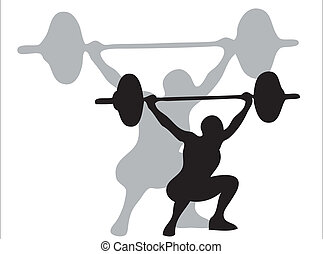 Man lifting weights as symbol of olympic sport