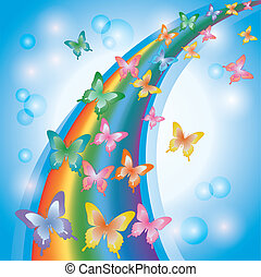 Light colorful background with rainbow and butterflies, decorated bubbles
