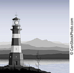Landscape with detailed lighthouse, mountain range and sea