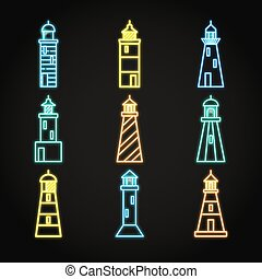 Lighthouse icon set in glowing neon style