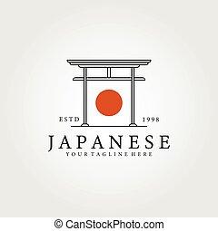 line art Japanese icon logo vector illustration design, traditional culture of japan