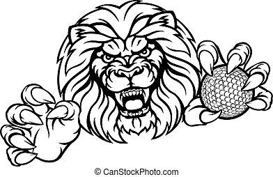Lion Golf Ball Sports Mascot
