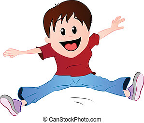 A vector illustration featuring a little boy jumping in excitement