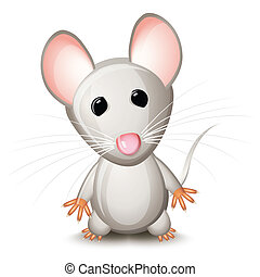 Little gray mouse isolated on white background
