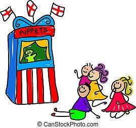 little kids watching a puppet show - toddler art series