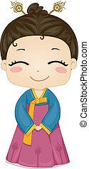 Illustration of Cute Little Korean Girl Wearing Traditional Costume