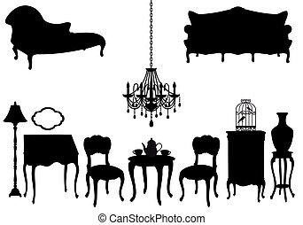 antique furniture, vector
