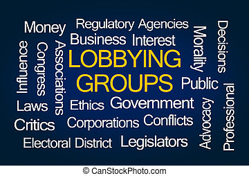 Lobbying Groups Word Cloud on Blue Background