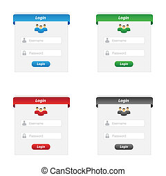 Collection of login forms in various colors