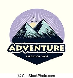 Logo for Camping Mountain Climbing Adventure, Emblems, and Badges. Camp in Forest Vector Illustration Design Elements Template