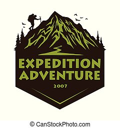 Logo for Mountain Hiking Climbing Adventure, Emblems, and Badges. Camp in Forest Vector Illustration Design Elements Template