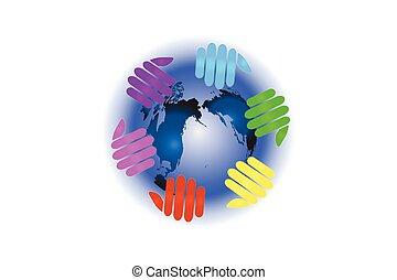 Logo hands around world