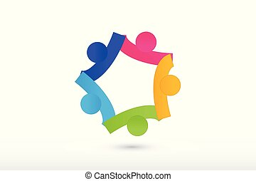 Logo team holding hands collaboration and helping people